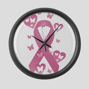 Pink Awareness Ribbon Large Wall Clock