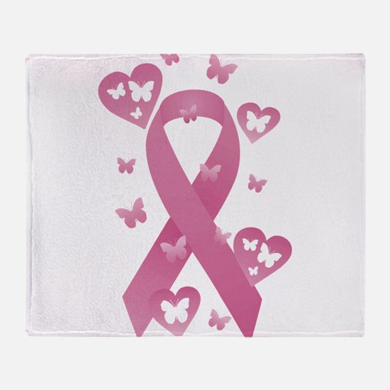 Pink Awareness Ribbon Throw Blanket