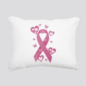Pink Awareness Ribbon Rectangular Canvas Pillow