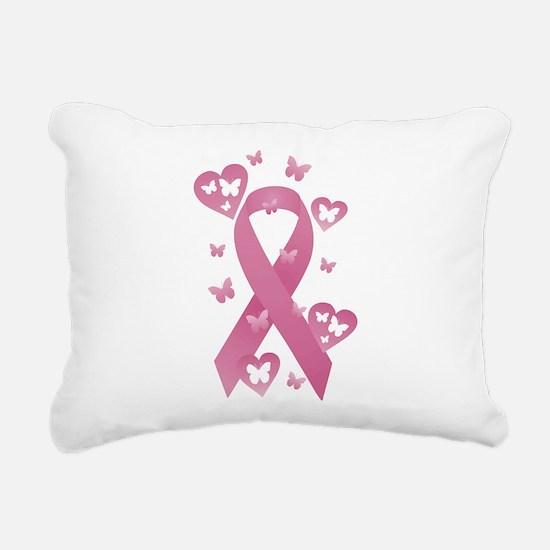 Pink Awareness Ribbon Rectangular Canvas Pillow