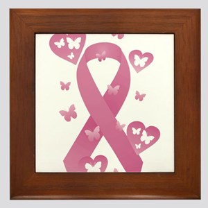 Pink Awareness Ribbon Framed Tile
