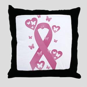 Pink Awareness Ribbon Throw Pillow