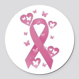 Pink Awareness Ribbon Round Car Magnet