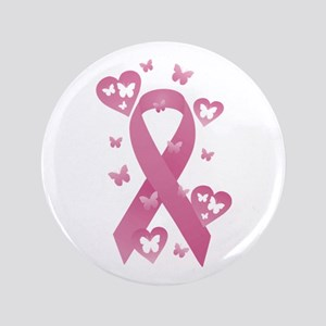 "Pink Awareness Ribbon 3.5"" Button"