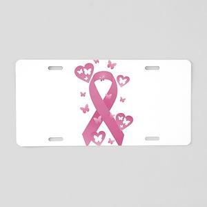 Pink Awareness Ribbon Aluminum License Plate