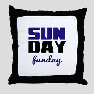 Sunday funday (black/blue) Typographic Throw Pillo
