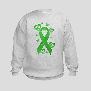 Green Awareness Ribbon Kids Sweatshirt