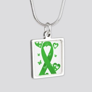 Green Awareness Ribbon Silver Square Necklace