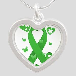 Green Awareness Ribbon Silver Heart Necklace