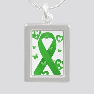 Green Awareness Ribbon Silver Portrait Necklace