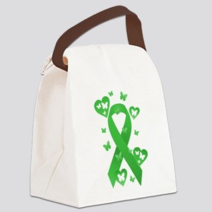 Green Awareness Ribbon Canvas Lunch Bag