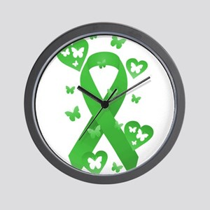 Green Awareness Ribbon Wall Clock