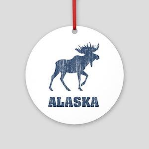 Retro Alaska Moose Ornament (Round)
