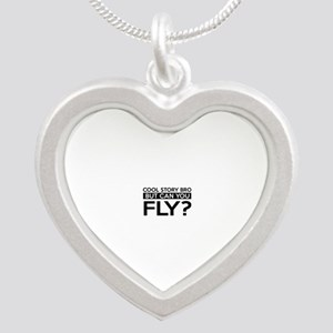 Fly job gifts Silver Heart Necklace