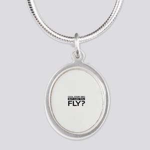 Fly job gifts Silver Oval Necklace