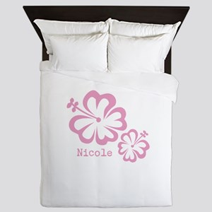 Customized (add your name) Hibiscus Print Queen Du