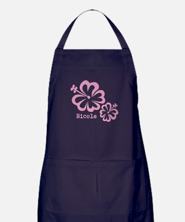 Customized (add your name) Hibiscus Print Apron (d