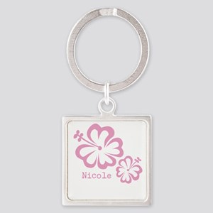 Customized (add your name) Hibiscus Print Keychain