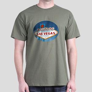 Las Vegas Sign - Military Green T-Shirt