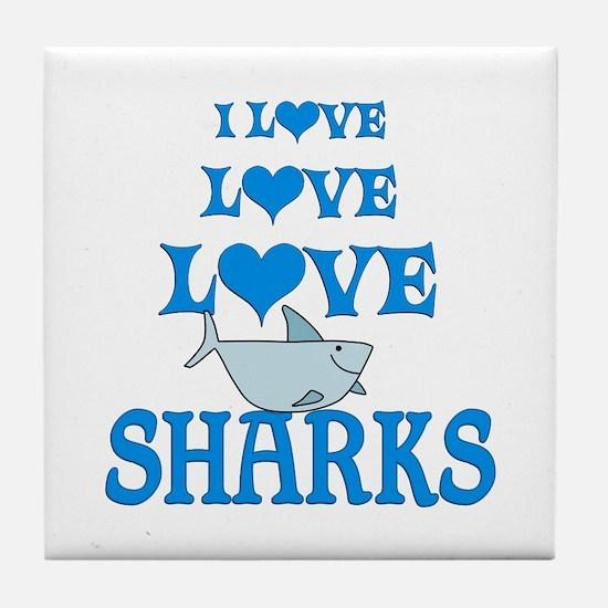 Love Love Sharks Tile Coaster