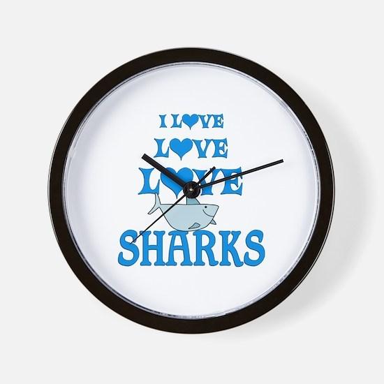 Love Love Sharks Wall Clock