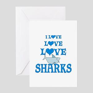 Love Love Sharks Greeting Card