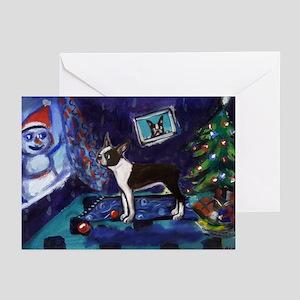 Boston Terrier Xmas snowman Greeting Cards (Packag