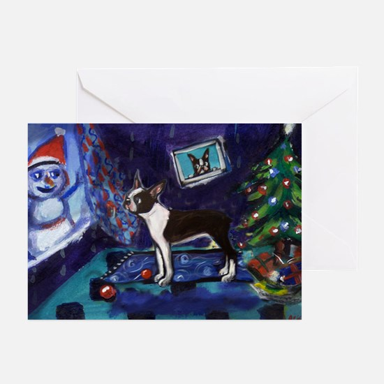 Boston Terrier Xmas snowman Greeting Cards (Packag