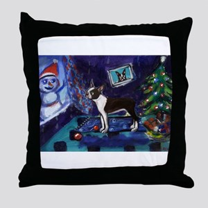 Boston Terrier Xmas snowman Throw Pillow