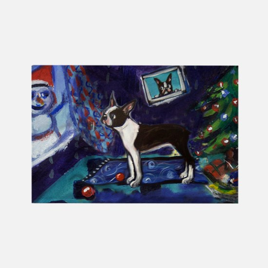 Boston Terrier Xmas snowman Rectangle Magnet
