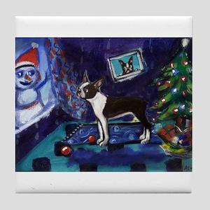 Boston Terrier Xmas snowman Tile Coaster