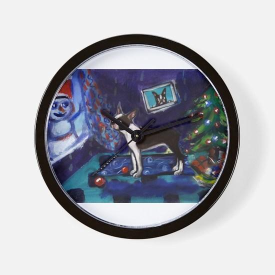 Boston Terrier Xmas snowman Wall Clock
