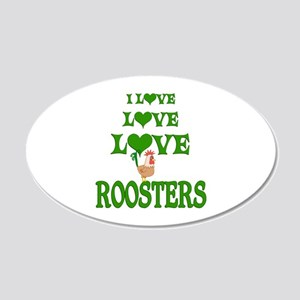 Love Love Roosters 20x12 Oval Wall Decal