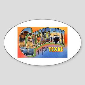 Galveston Texas Greetings Oval Sticker