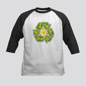 Floral Recycle Sign Kids Baseball Jersey