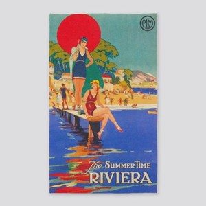 Summertime Riviera Vintage Travel Poster Area Rug