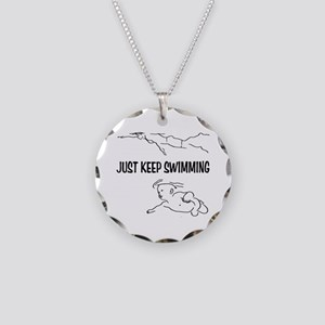 Just Keep Swimming Necklace Circle Charm