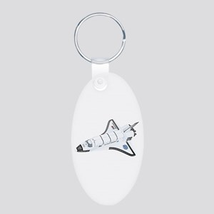 Space Shuttle Aluminum Oval Keychain
