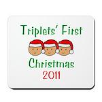 Triplets First Santa Hats Mousepad