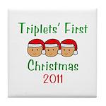 Triplets First Santa Hats Tile Coaster