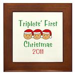 Triplets First Santa Hats Framed Tile