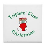 Triplets First Stocking Tile Coaster