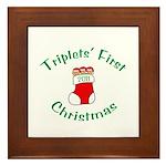 Triplets First Stocking Framed Tile