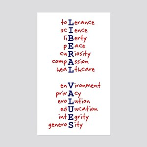 Liberal Values WordPlay Rectangle Sticker