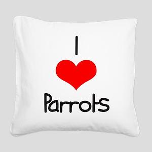 i-heart-parrots Square Canvas Pillow