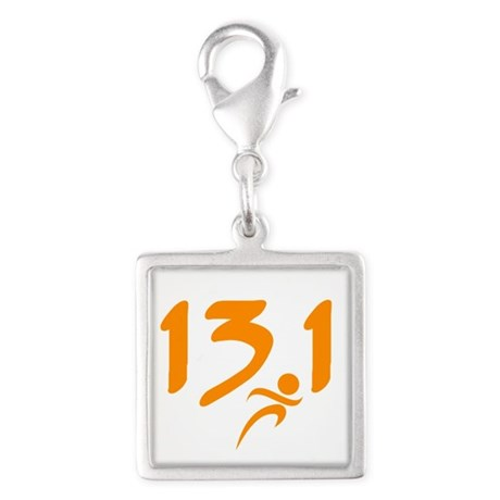 Orange 13.1 half-marathon Silver Square Charm