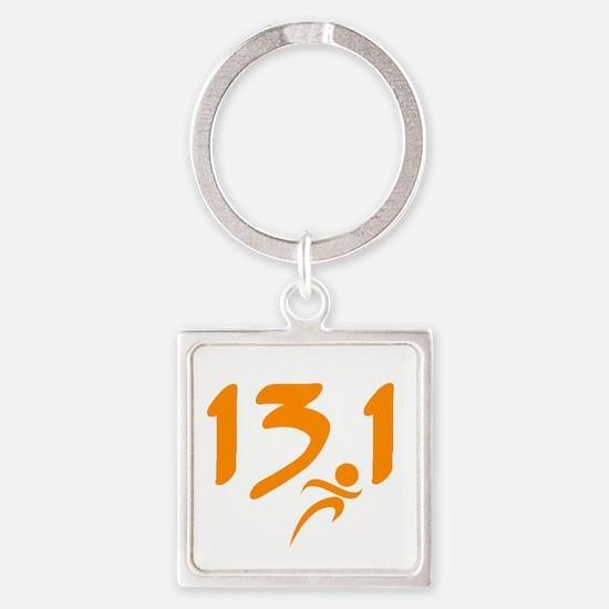 Orange 13.1 half-marathon Square Keychain