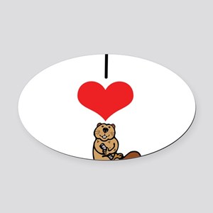 heart-beavers Oval Car Magnet
