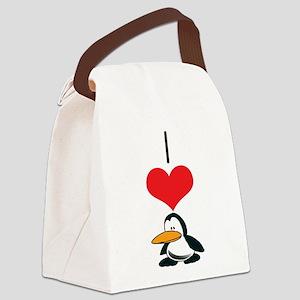 heart-penguin Canvas Lunch Bag