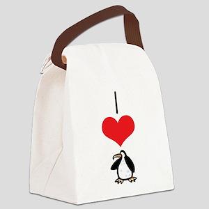 heart-penguins Canvas Lunch Bag